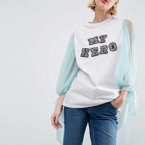 SALE 💰 Asos Shirt Mesh Sleeve My Hero Jewel - 4